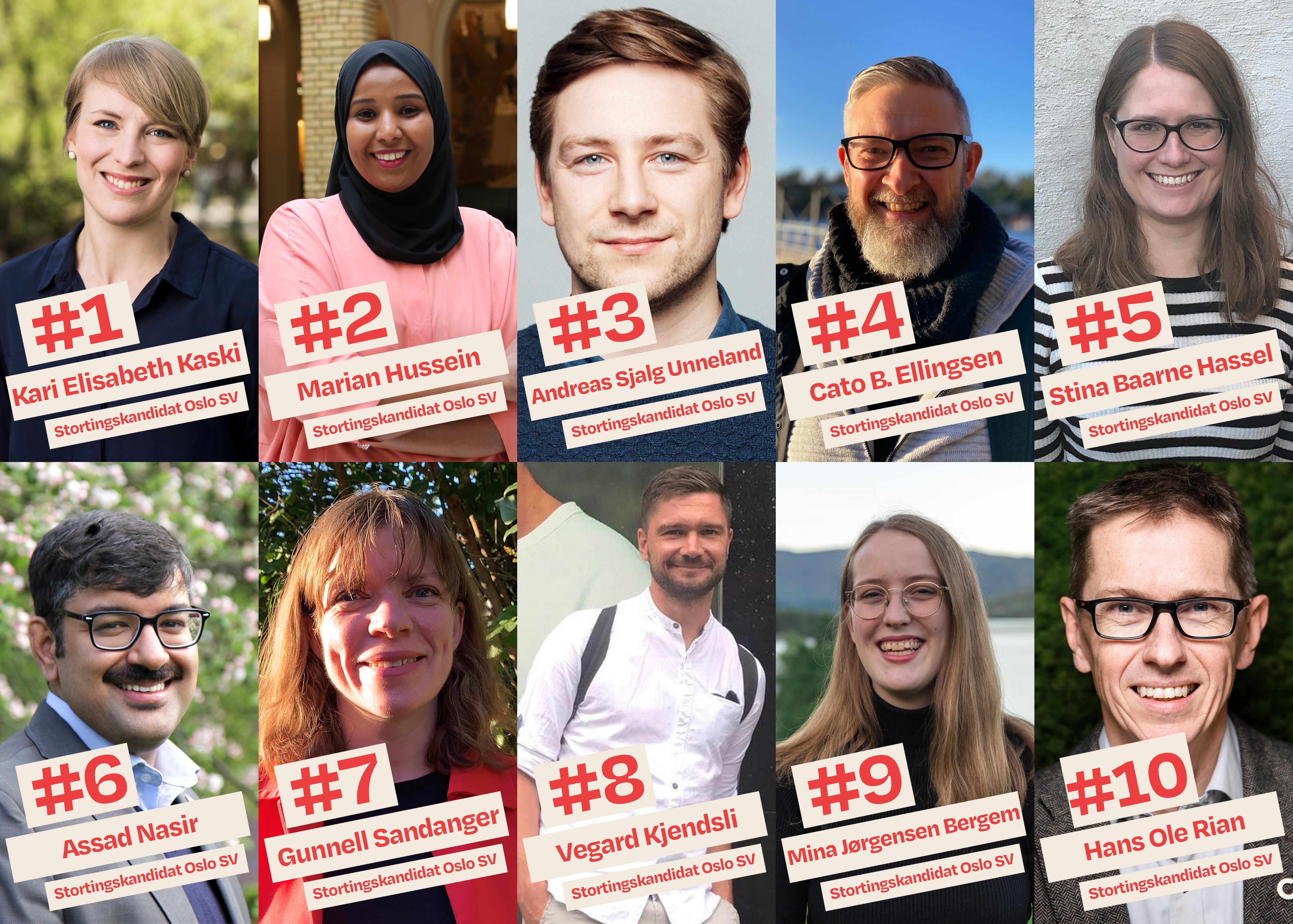 Her er Oslo SVs stortingskandidater